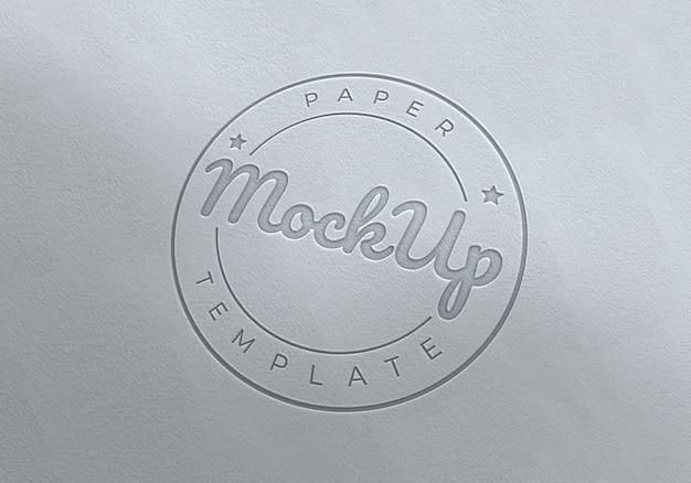 Fancy paper logo emboss mockup template
