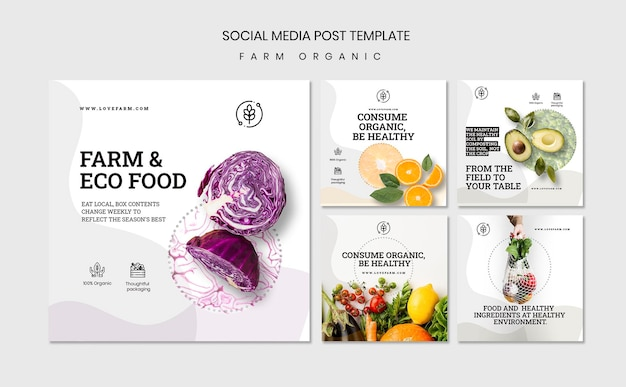 Farm organic social media post template
