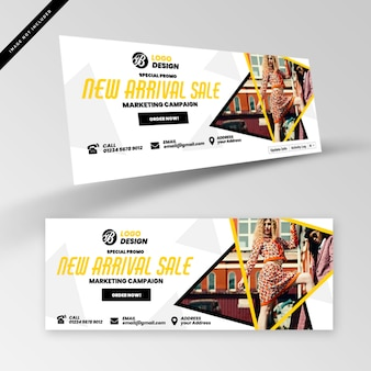 Fashion banner or facebook cover template Premium Psd