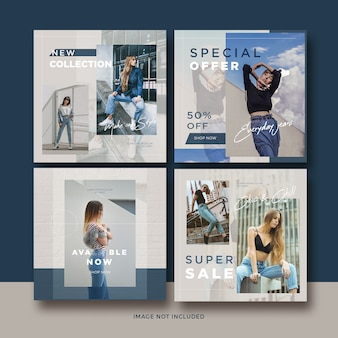 Fashion banner social media post template collection