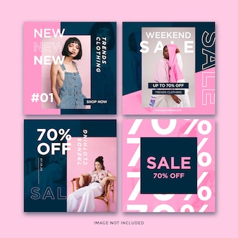 Fashion banner social media post template collection Premium Psd