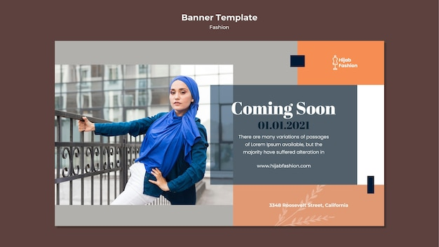 Fashion banner template with photo