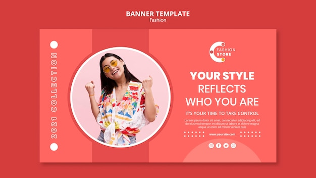 Fashion banner template with woman photo