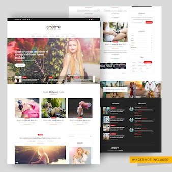 Fashion and beauty blog template premium psd