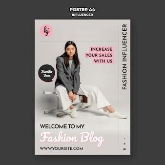 Modello di poster di moda blog influencer Psd Gratuite