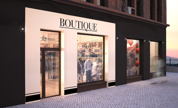 Fashion boutique storefront mockup 3d rendering