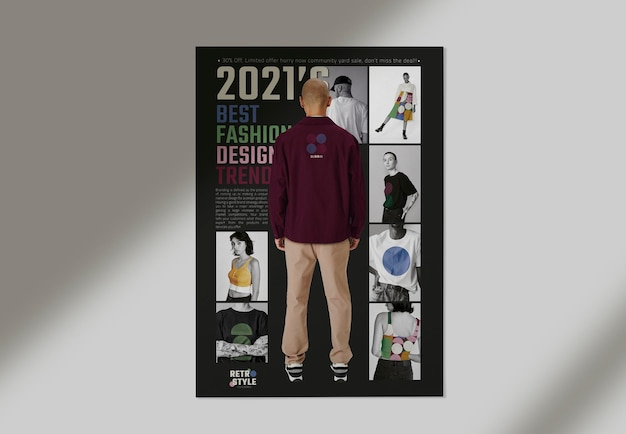 Fashion business poster mockup in retro style