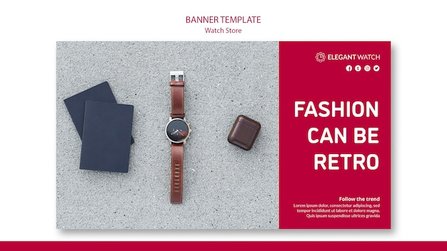 Fashion can be retro banner template