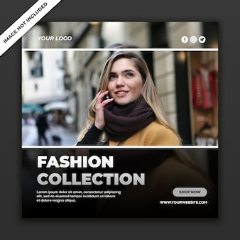 Fashion collection in social media post template
