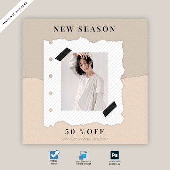 Fashion collection torn paper social media banner template