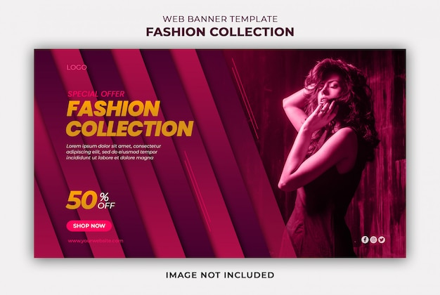 Fashion collection web banner template