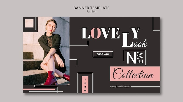 Дизайн шаблона баннера концепции моды