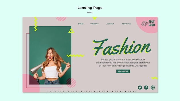 Fashion concept landing page web template