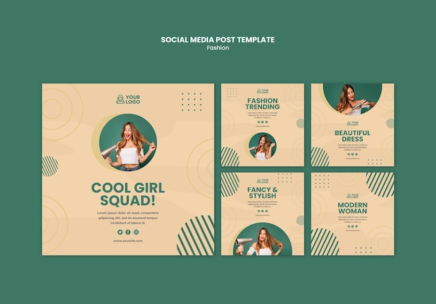 Fashion concept social media post template