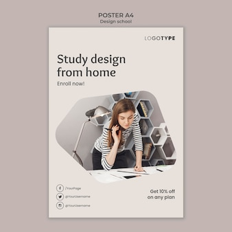 Fashion design school poster template