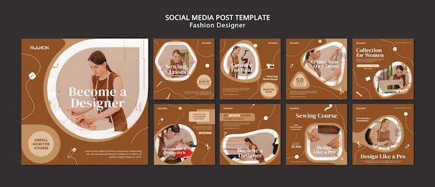 Post sui social media del modello di design di moda