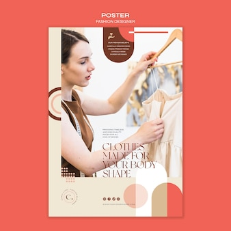 Шаблон плаката концепции дизайнера одежды