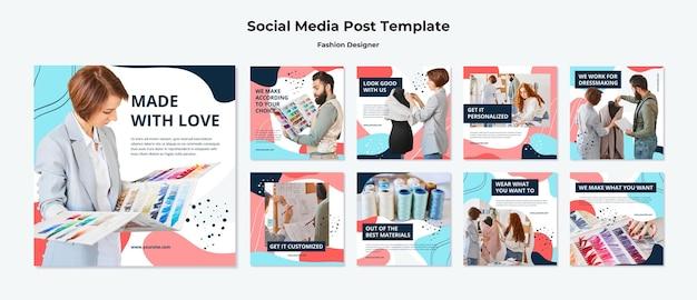 패션 디자이너 소셜 미디어 게시물