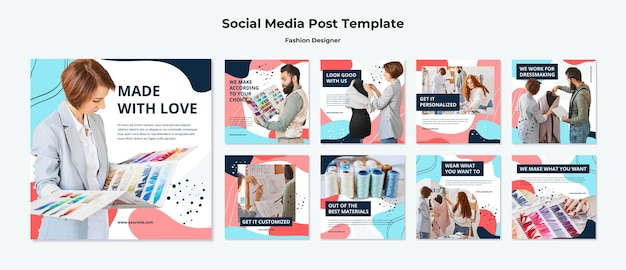 Fashion designer social media posts