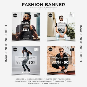 Fashion event discounts instagram banners