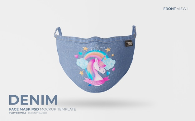 Fashion face mask mockup in denim fabric