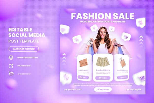 Fashion flash sale online shopping promotion on social media post template premium psd
