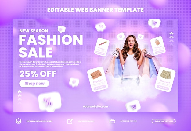 Fashion flash sale online shopping promotion web and website banner  premium psd