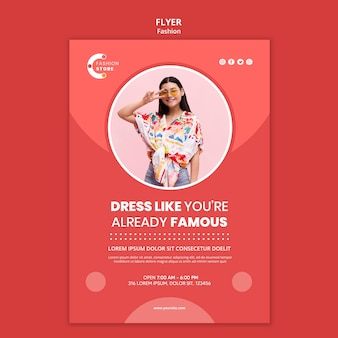 Fashion flyer template with woman photo