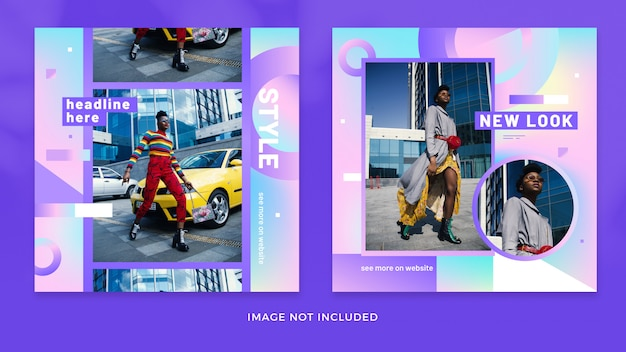 Fashion gradient instagram post collection premium psd