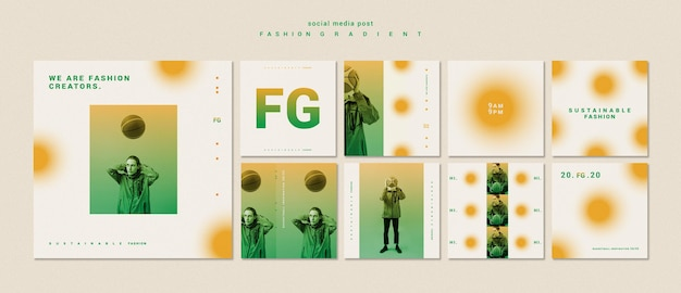 Fashion gradient social media posts template