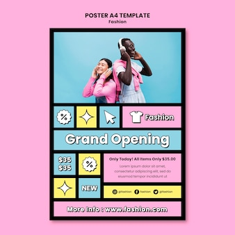 Fashion grand opening  poster template