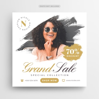 Fashion grand sale post banner or square flyer template