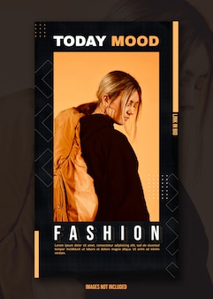Fashion insta story template with crumpled paper background