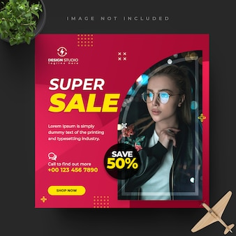 Fashion instagram, facebook social media post banner template design
