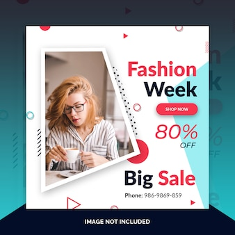 Fashion instagram post, square banner or flyer template