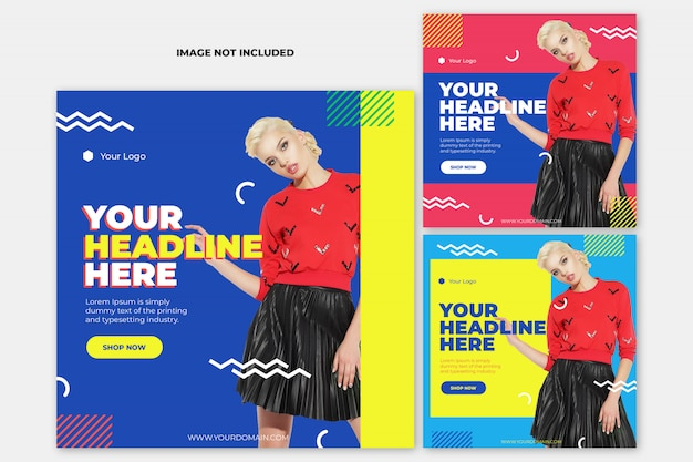 Fashion instagram post template banner set