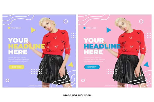 Fashion instagram post template banner set