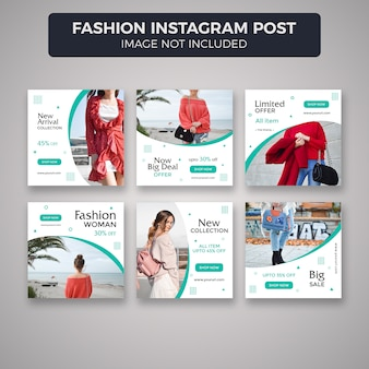 Fashion instagram post template collection