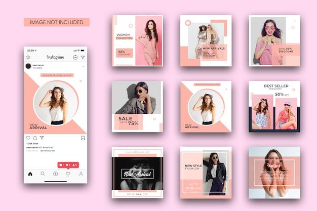 ファッションinstagram投稿テンプレートセットとスクリーンショットのモックアップ