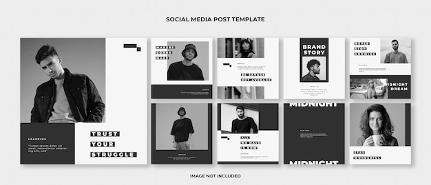 Fashion instagram post template set