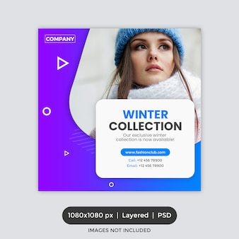 Fashion instagram post template or square flyer or banner