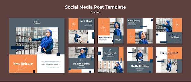 Fashion instagram posts template with photo