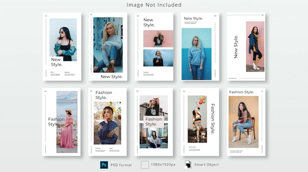 Fashion instagram stories psd template set