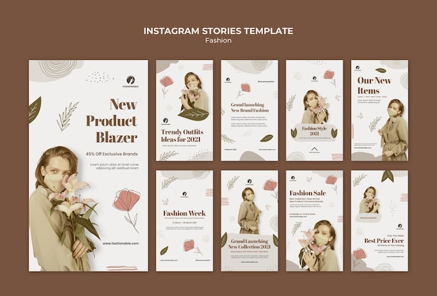 Fashion instagram stories template with photo
