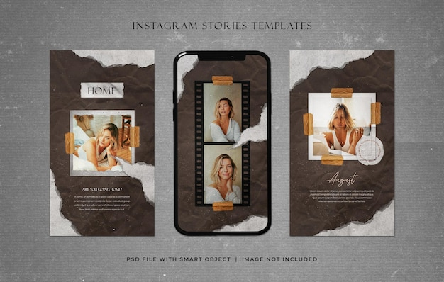 Модные истории в instagram с шаблонами из рваной бумаги