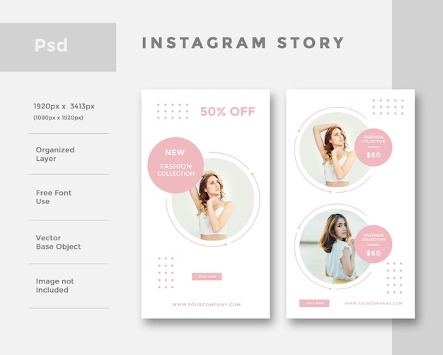 Fashion instagram story ad layout  template