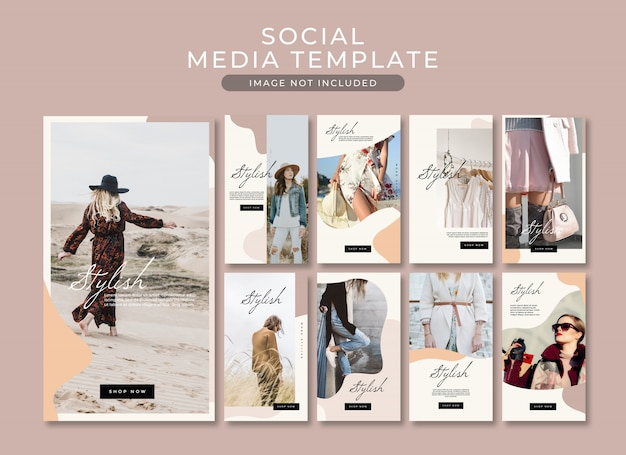 Fashion instagram story  post template collection