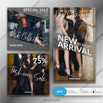 Fashion instagram story template and square post or banner