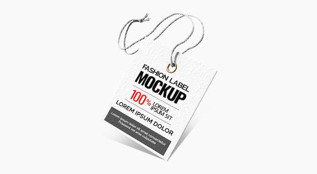 Fashion label tag mockup white background