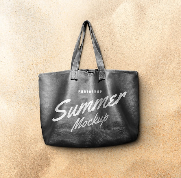 Fashion leather bag on the beach rendering